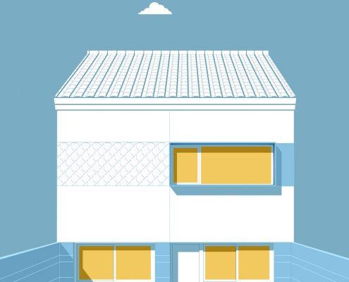 Lopez Luque - Casa - Azul - Vivienda- Antonio Olaya - Henar Herrero - Ana Gomez - Ahaus Arquitectos - Huelva - Piedra prefabricada - Teja - Mortero monocapa